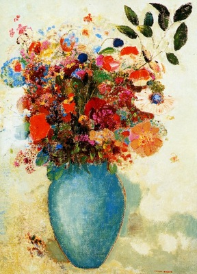 Odilon Redon Flowers in a Turquoise Vase, De