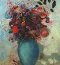 redon flowers in turquoise vase c1910