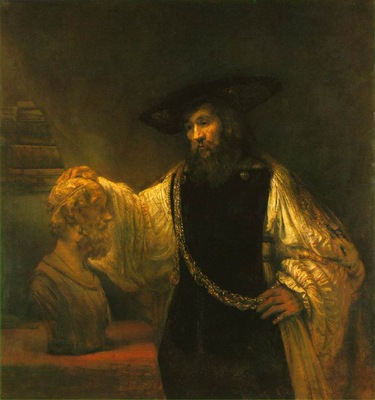 REMBRANDT ARISTOTLE CONTEMPLATING A BUST OF HOMER 1653 MOMA