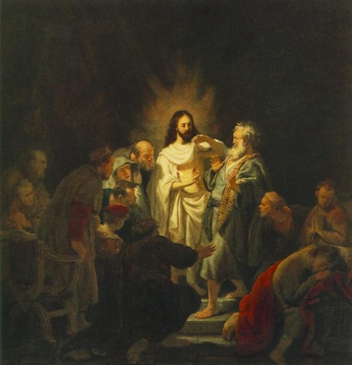 REMBRANDT THE INCREDULITY OF ST THOMAS 1634 PUSJKIN MUSEUM M