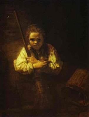 Rembrandt A Girl with a Broom