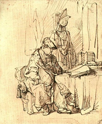 rembrandt a man seated at a table covered with books,