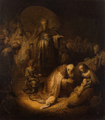 Rembrandt Adoration of the magi, 1632, 45x39 cm, Eremitaget