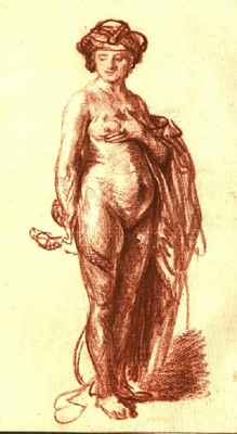 Rembrandt Female Nude with Snake Cleopatra , 1637, Red chal