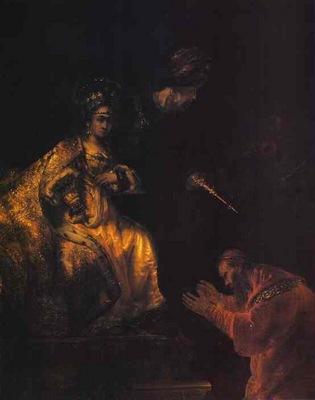 Rembrandt Haman Begging Esther for Mercy