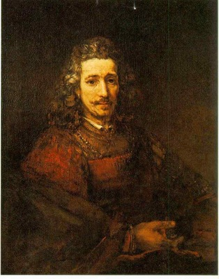 Rembrandt Man with a Magnifying Glass, 1668, Metropolitan m