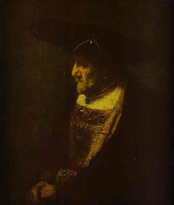 Rembrandt Portrait of a Man in the Hat Decorated with Pearls