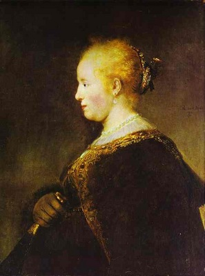 Rembrandt Portrait of a Young Woman with the Fan