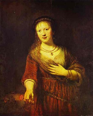 Rembrandt Saskia at Her Toilet
