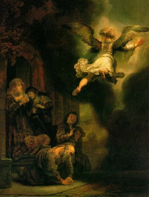 Rembrandt The Archangel Leaving the Family of Tob