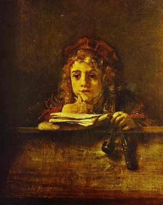 Rembrandt The Artists Son Titus at His Desk