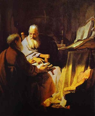Rembrandt Two Scholars Disputing Peter and Paul