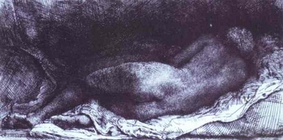 Rembrandt Woman Lying Down