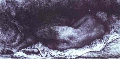 Rembrandt Woman Lying Down