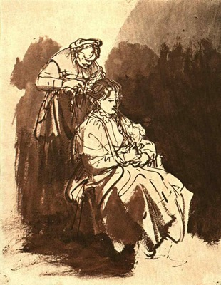 Rembrandt Young Woman at Her Toilet, 1632 1635, Graphische S
