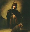 REMBRANDT PORTRAIT IN ORIENTAL COSTUME WITH A DOG