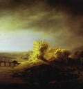 Rembrandt Landscape with a Long Arched Bridge