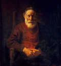 rembrandt portrait of an old man in red, circa 1652 54