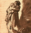 Rembrandt Woman Carrying a Child Downstairs, 1636, Ink and w