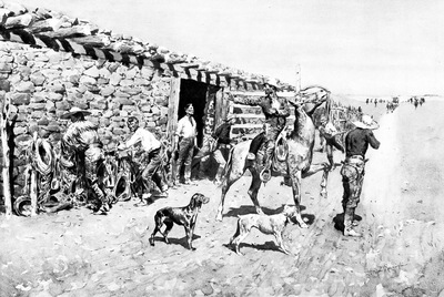 Fr 002 An Overland Station, Indians Coming in with the Stage FredericRemington sqs