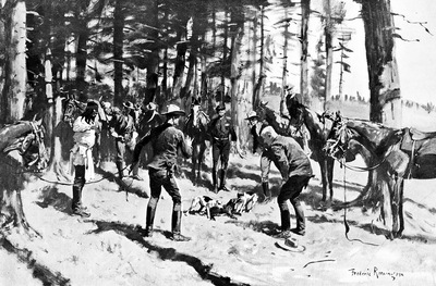 Fr 021 Fox Terriers Fighting a Badger FredericRemington sqs