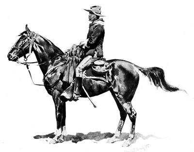 Fr 025 U S  Cavalry Officer on Campaign FredericRemington sqs