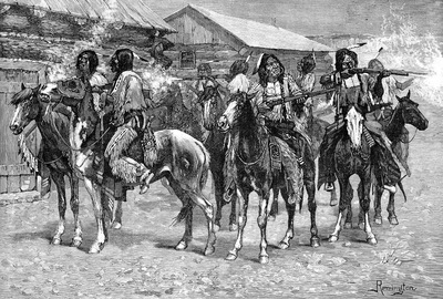 Fr 037 Crow Indians Fire into the Agency FredericRemington sqs