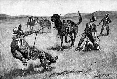 Fr 054 Teaching a Mustang Pony to Pack Dead Game FredericRemington sqs