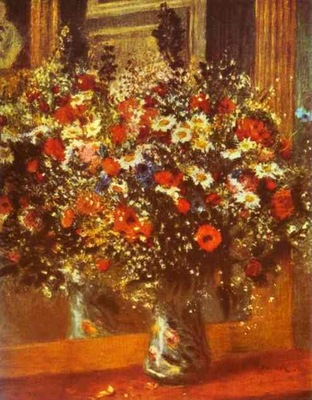 Pierre Auguste Renoir Bouquet in Front of a Mirror