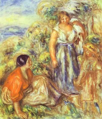 Pierre Auguste Renoir Two Women and a Child