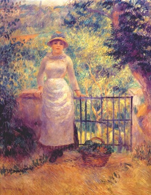 renoir aline at the gate girl in the garden