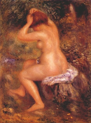 renoir bather arranging her hair c1887