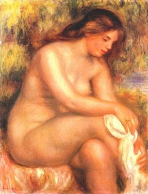 renoir bather drying her leg c1910