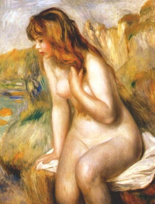 renoir bather seated on a rock