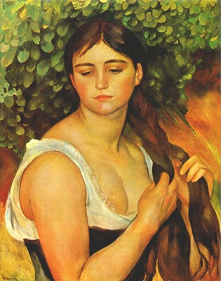 renoir girl braiding her hair