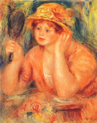 renoir girl looking into a mirror c1912