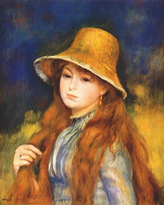renoir girl with a straw hat c1884