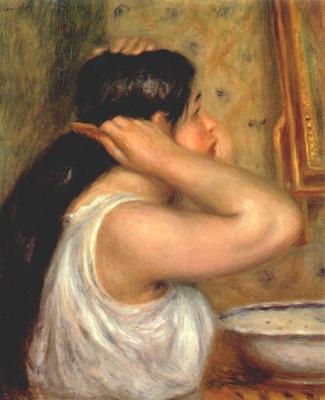 renoir la toilette woman combing her hiar 1907