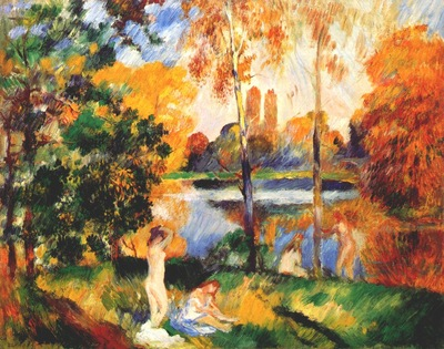 renoir landscape with female bathers c1885