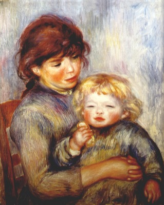 renoir maternity child with a biscuit