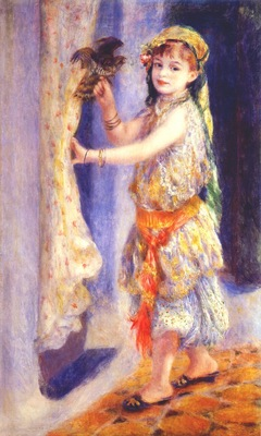renoir mlle fleury in algerian costume girl with a falcon