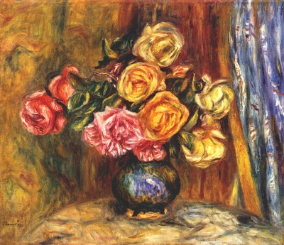renoir roses in front of a blue curtain