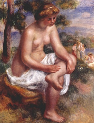 renoir seated bather in a landscape eurydice 1895