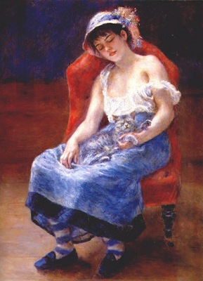 renoir sleeping girl with cat