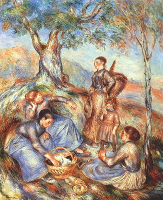 renoir the grape pickers at lunch c1888