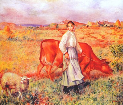 renoir the shepherdess the cow and the ewe 1886