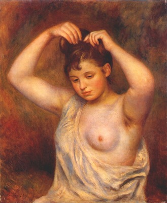 renoir woman arranging her hair