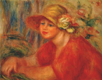 renoir woman in a hat with flowers