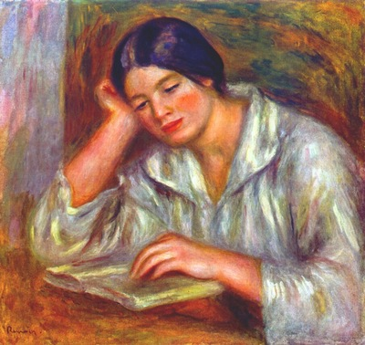 renoir woman in white, reading