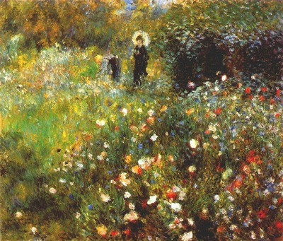 renoir woman with a parasol in a garden